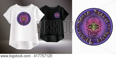 Isolated Color Image Of Sugar Skull Logo. Original T-shirt Print. Vector Realistic Image Of A Female