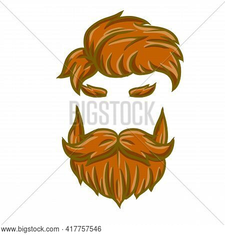 Fashionable Men Haircut. The Element Of The Head And Face Hipster. Brown Hair Guy. Hair And Beard. L