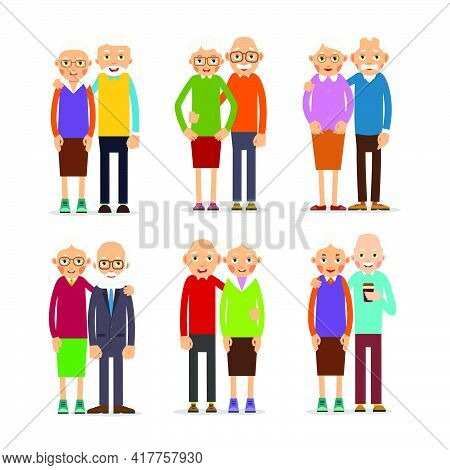 Six Couple Older People. People Stand In Pairs. Elderly Man And Woman Stand Together And Hug Each Ot