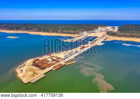 Construction of a canal to the Baltic Sea on the Vistula Spit. Poland