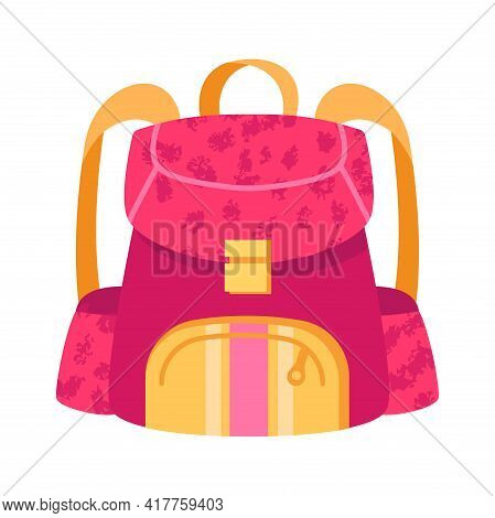 Cute Small Pink And Yellow Child Backpack Isolated On White Background. Little Child Adorable Backpa