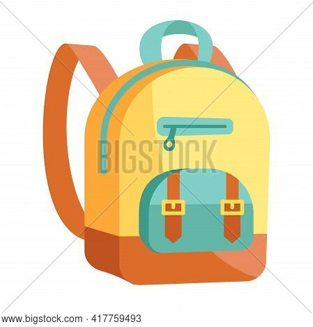 Fancy Yellow And Blue Backpack Isolated On White Background. Cute School Backpack With Little Pocket