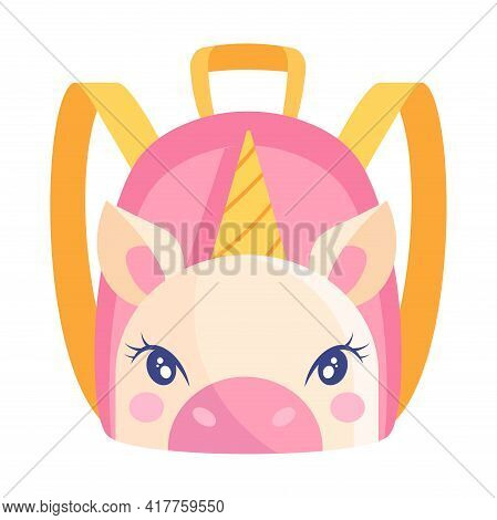 Cute Small Pink And Yellow Child Backpack With Unicorn Print On White Background. Little Child Adora
