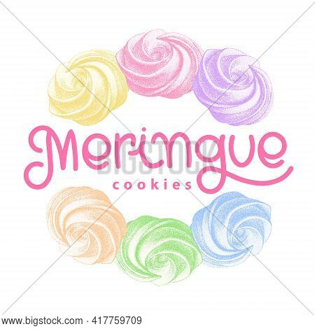 Logotype With Color French Meringue Twirls, Marshmallow, Zephyr. Sweetness, Sweet Cake. Sketch With