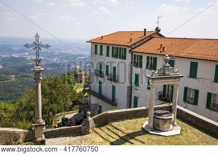 Sacro Monte (va), Italy - June 01, 2020: Landscape View At Pilgrimage Village Of Santa Maria Del Mon
