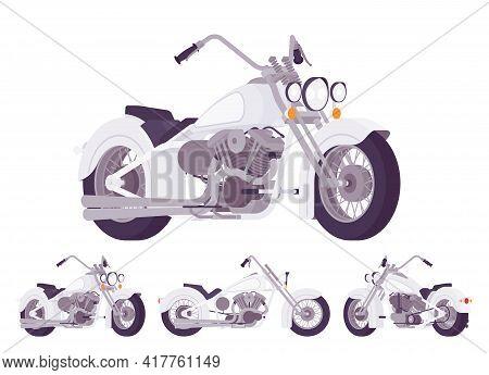 Chopper Custom Grey Classic Motorcycle, Bobber Bike. Fast Motorsport, High Speed Sport Vehicle. Vect