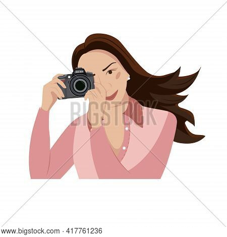 Portrait Of Smiling Beautiful Girl In Dress Making Photo. Girl On Vacation, Smiling, Happy, Uses The