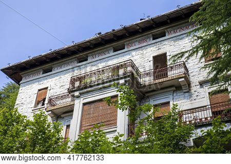 Sacro Monte (va), Italy - June 01, 2020: The Siro Magnaghi Colony Building At Campo Dei Fiori Region