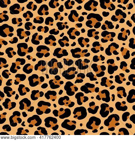 Vector Abstract Seamless Pattern Of Leopard Or Ounce Predatory Print. Modern Animal Fur Fashion Back