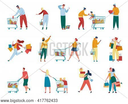 People Shopping. Man And Women With Paper Bags, Carts, Gift Boxes Purchasing At Retail Store Or Mall