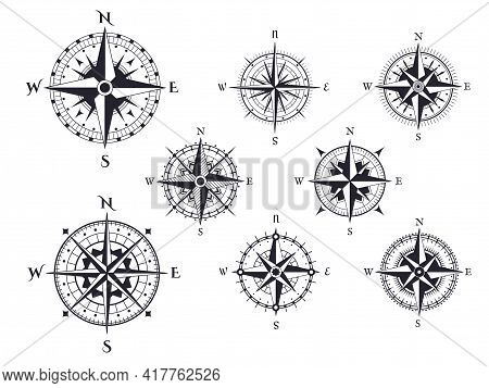 Retro Compass. Wind Rose Nautical Direction Icons With Cardinal Points, Vintage Map Compasses Elemen