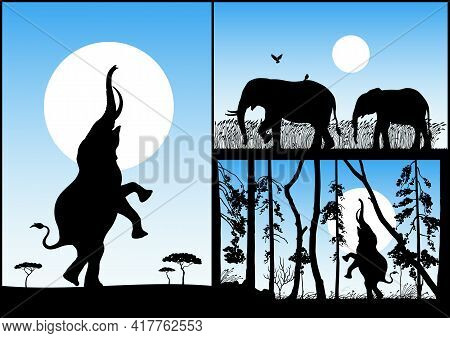 Elephant Family. Endangered Animal Silhouette. Mother And Child