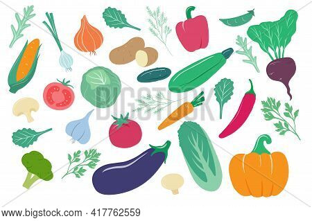 Vegetables. Cartoon Onion, Corn And Carrot, Cucumber And Potato, Cabbage. Pepper, Tomato And Beetroo