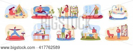 Home Activities. People Cleaning Home, Cooking, Taking Bath, Playing With Pets, Practicing Yoga, Rea