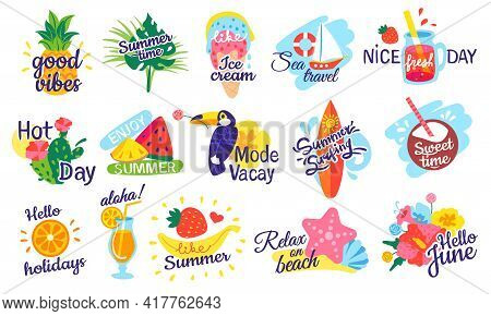 Summer Lettering. Holiday, Vacation Labels, Beach Party Badges With Fruit Cocktails, Tropical Leaves