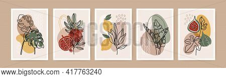 Minimal Boho Poster. Modern Botanical Wall Art Decor With Nature Elements, Tropical Leaves, Fruits,