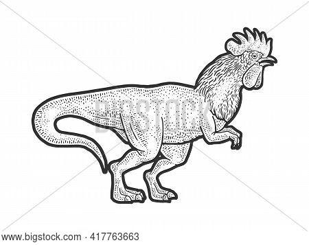 Rooster Headed Tyrannosaurus Dinosaur Bird Sketch Engraving Vector Illustration. T-shirt Apparel Pri