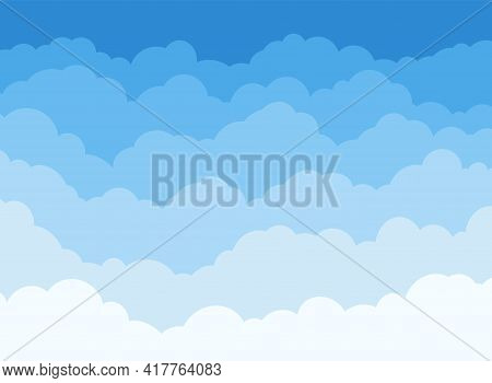 Sky And Clouds. Cartoon Cloudy Pattern, Flat Air Scene Panorama For Banner, Comic Cover And Poster V
