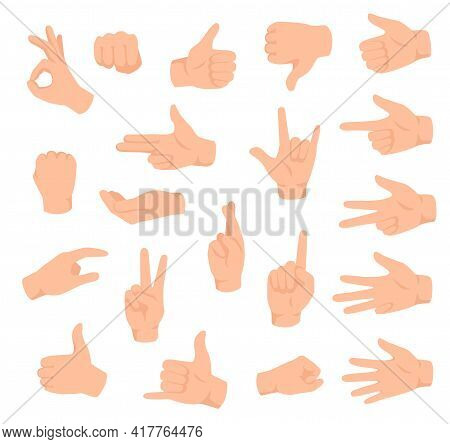 Hand Gestures. Male Hands With Various Signs. Ok, Victory And Like, Dislike. Counting Fingers, Holdi