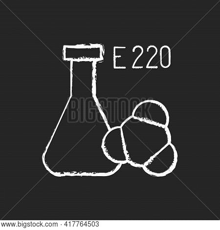 Sulphites Chalk White Icon On Black Background. Chemical Formula. Food Additives As Common Cause Of