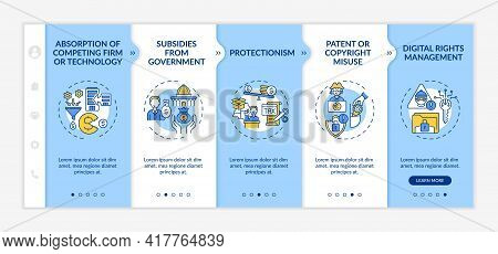 Competition-distorting Policy Onboarding Vector Template. Responsive Mobile Website With Icons. Web