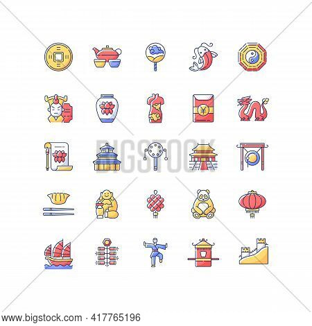 China Rgb Color Icons Set. Ancient Chinese Traditions. Lunar New Year Celebration. Oriental Culture.