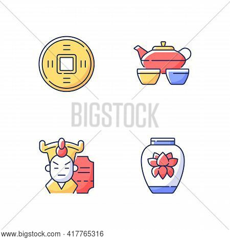 Asia Rgb Color Icons Set. Ancient Chinese Coin. Tea Set For Ceremony. Cantonese Opera. Traditional P