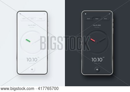 Neumorphic Ui Kit On Smartphone Screen. Clock On Black And White Smartphone Template. Mobile Interfa