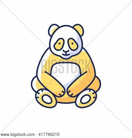 Big Panda Rgb Color Icon. Traditional Chinese Animal. Beijing Zoo Mascot. Endangered Species Protect