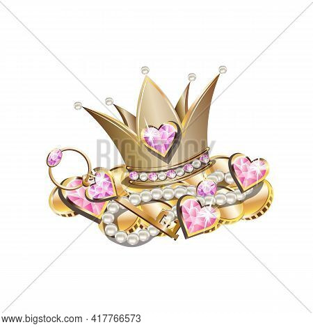 Fairy Tale Vector Illustration Of Princess Jewels. Crown Or Tiara With Pearls And Pink Stones, Pearl