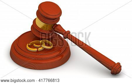Judicial Practice In Divorce. Judge Hammer And Broken Wedding Rings On A White Surface. Divorce Conc