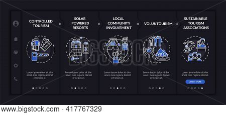 Best Sustainable Tourism Practices Onboarding Vector Template. Responsive Mobile Website With Icons.