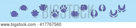 Set Of Muddy Animals Footprint Cartoon Icon Design Template With Various Models. Modern Vector Illus