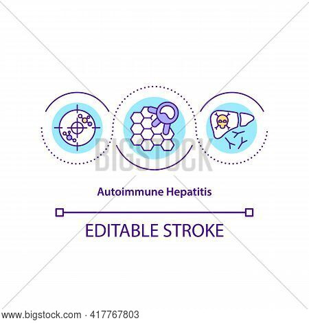 Autoimmune Hepatitis Concept Icon. Body Immune System Failure Idea Thin Line Illustration. Lifelong