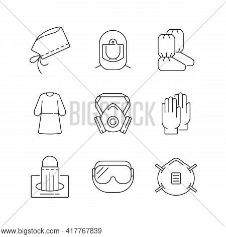 Medical Disposable Covers Linear Icons Set. Surgical Cap And Helmet. Medical Goggles. N95 Mask. Cust