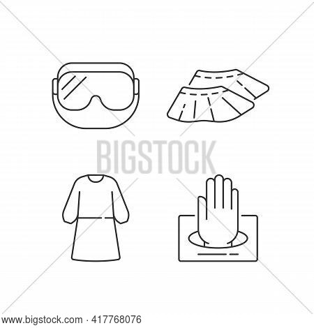 Disposable Medical Wear Linear Icons Set. Doctor Uniform. Quarantine Safety. Disposable Ppe. Customi