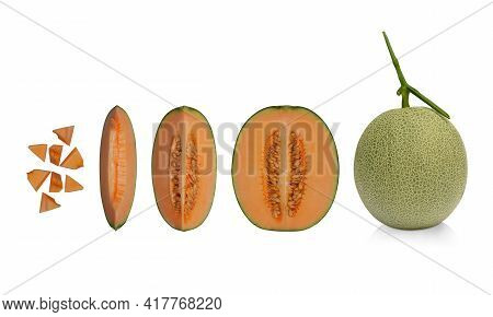 Cantaloupe, Planted In Halves, Cut Into Pieces On A White Background, Fruit, Nature, Food