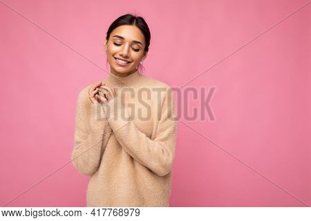 Photo Of Young Beautiful Happy Smiling Brunette Woman Wearing Beige Jersey . Sexy Carefree Female Pe