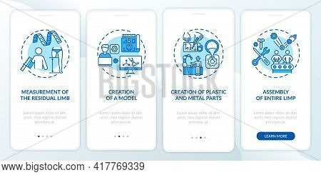 Prosthetics Manufacturing Onboarding Mobile App Page Screen With Concepts. Project Modeling Walkthro