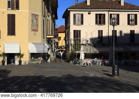 Sesto Calende (va), Italy - September 15, 2016: Sesto Calende Town View, Lombardy, Piedmont, Italy.