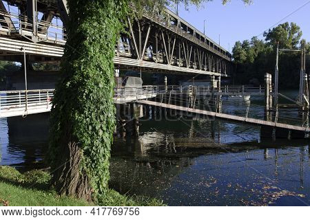 Sesto Calende (va), Italy - September 15, 2016: The Bridge Between Lombardy And Piedmont, Lombardy,