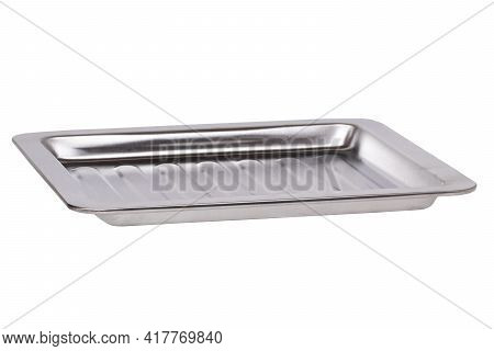 Closeup Of An Empty Baking Tray For The Oven Or A Metal Food Container In The Catering Industry For