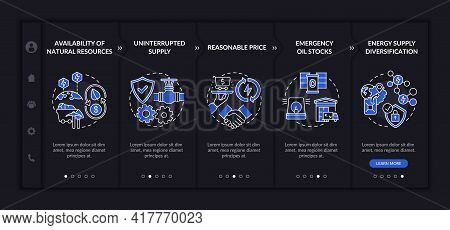Energy Secure Factors Onboarding Vector Template. Responsive Mobile Website With Icons. Web Page Wal