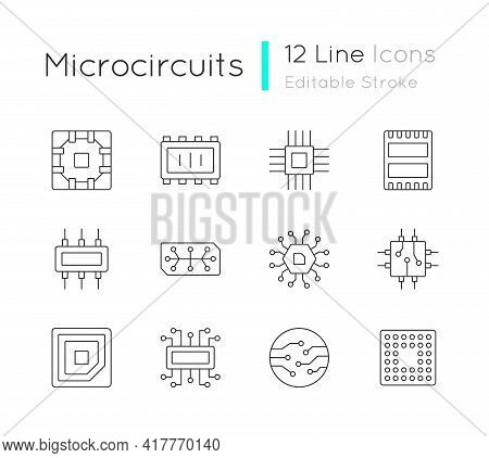 Microcircuits Linear Icons Set. Designing Modern Microcomponents For Device Creation. Customizable T
