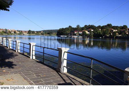 Sesto Calende (va), Italy - September 15, 2016: The Ticino River View From Sesto Calende, Lombardy,