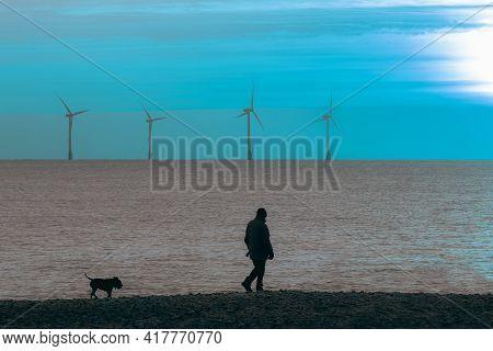 Late Night Dog Walker. Solitary Beach Walk At Twilight With Offshore Wind Farm Turbines. Beautiful B