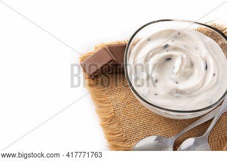 Stracciatella Yogurt In Transparent Bowl Isolated On White Background