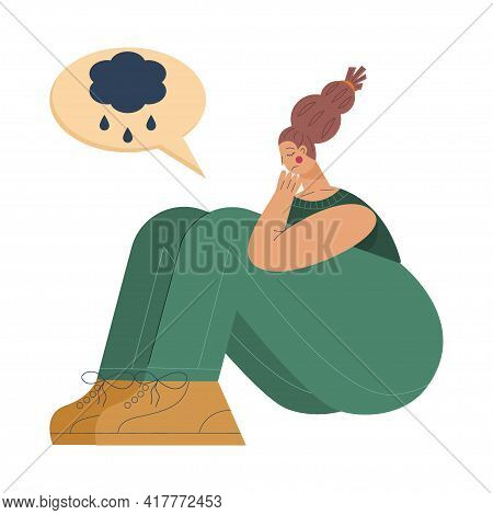 Tired Woman Sits In Depression And Frustration With Cloud The Cloud Thought. Tired Woman Is State Of