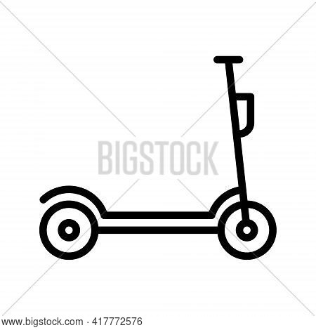 Kick Scooter And Electric Scooter Flat Line Icon. Rental, Mobile App, Eco Transport Simple Vector Il