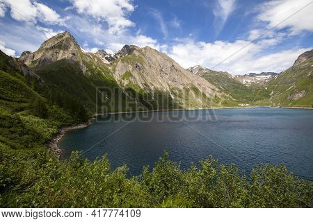 Morasco Lake (vco), Italy - June 21, 2020: The Landscape And Morasco Lake, Morasco Lake, Formazza Va